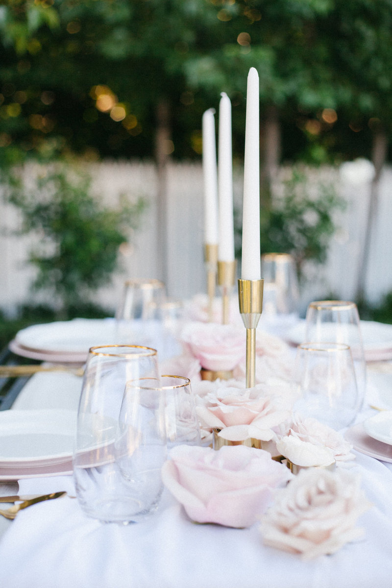 Feminine & romantic french garden in spring with lots of soft pink blush and gold