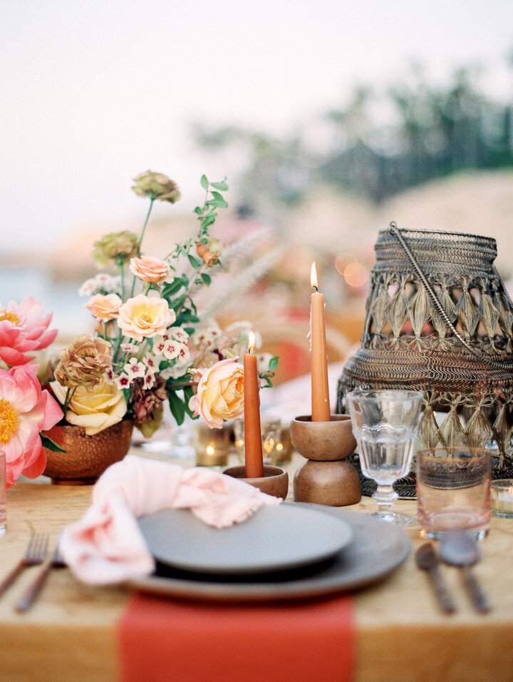 bohemian wedding table at one and only palmilla wedding