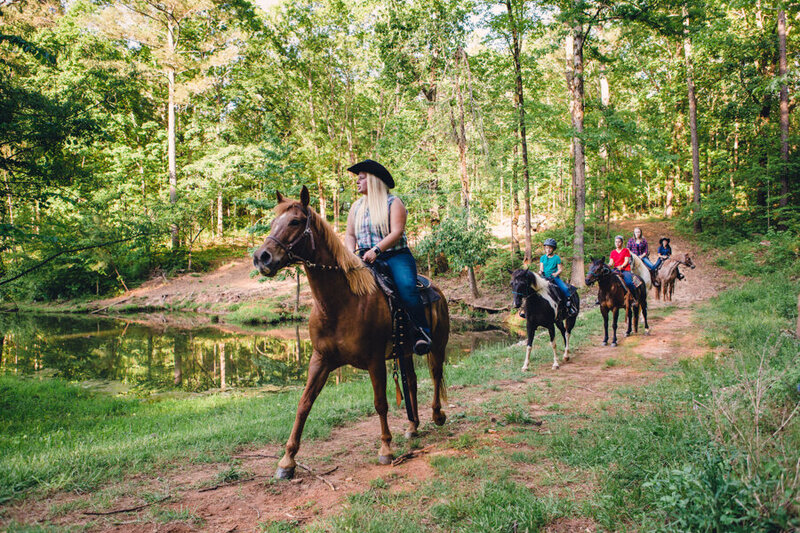 Western horseback guide leads group of equestrian riders over waterway path