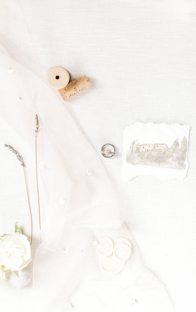 Wedding details with stationery and wax seals