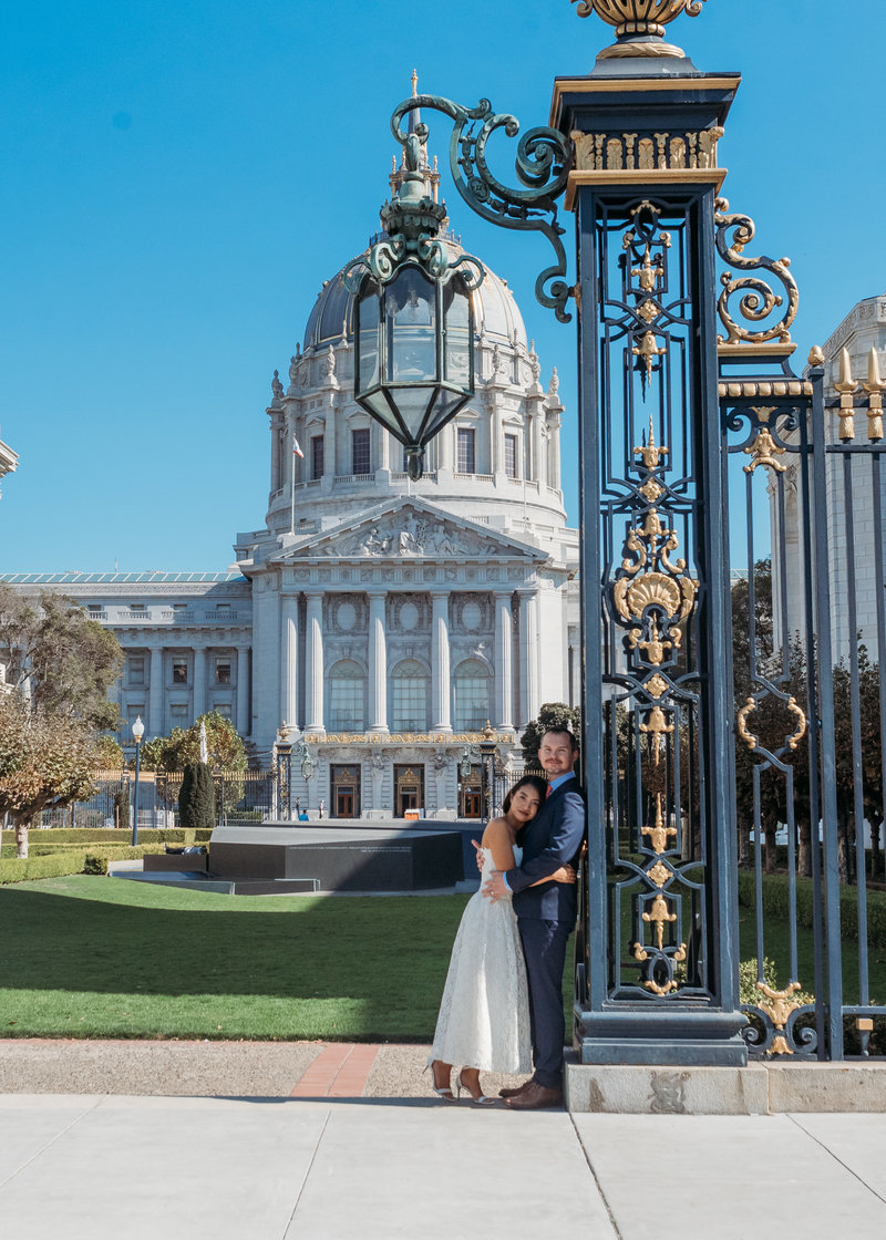 San Francisco City Hall  Gates framing the city hall after wedding