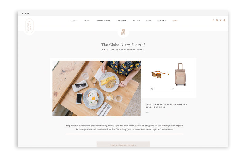 The Globe Diary by Leigh Dorkin - Custom Brand and Showit Web Design by With Grace and Gold - Showit Theme, Showit Themes, Showit Template, Showit Templates, Showit Design, Showit Designer - 3