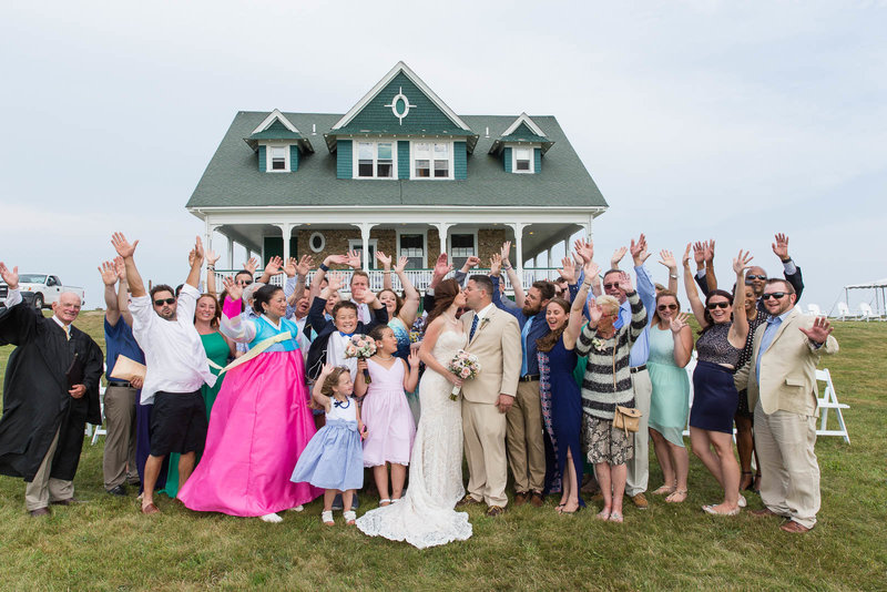 Bride and Groom celebrate their wedding with friends & family on Block Island