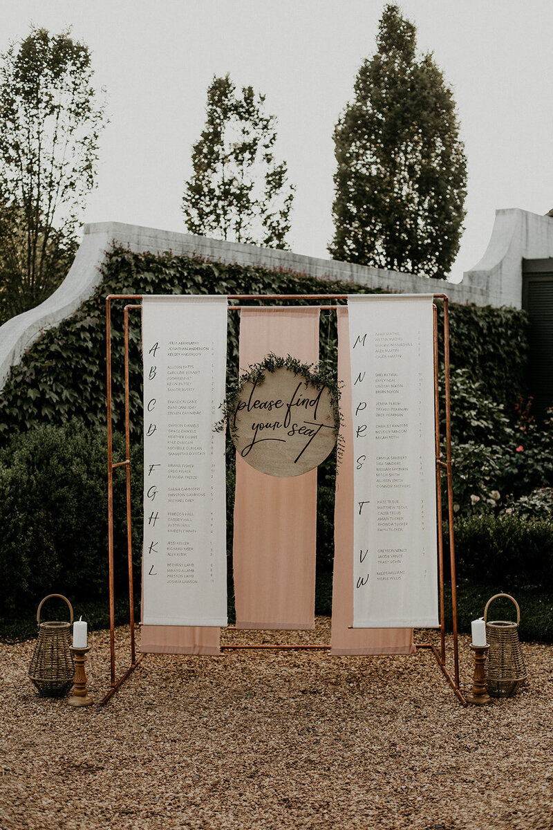 Custom Seating Chart on Copper Arbor