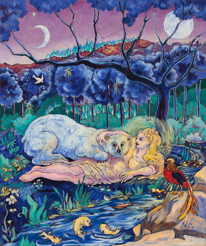 oil painting of woman cradling white bear by water with fish, phoenix, dark forest in blues and greens with sun and moon