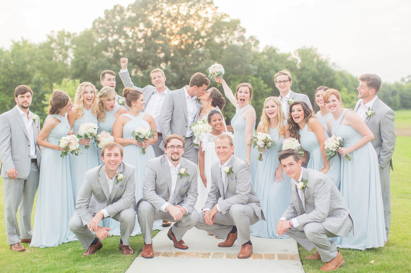 wedding party poses, cheering