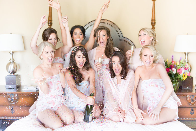 Blush Bridesmaid Robes Omni Montelucia Wedding Paradise Valley, Arizona | Amy & Jordan Photography