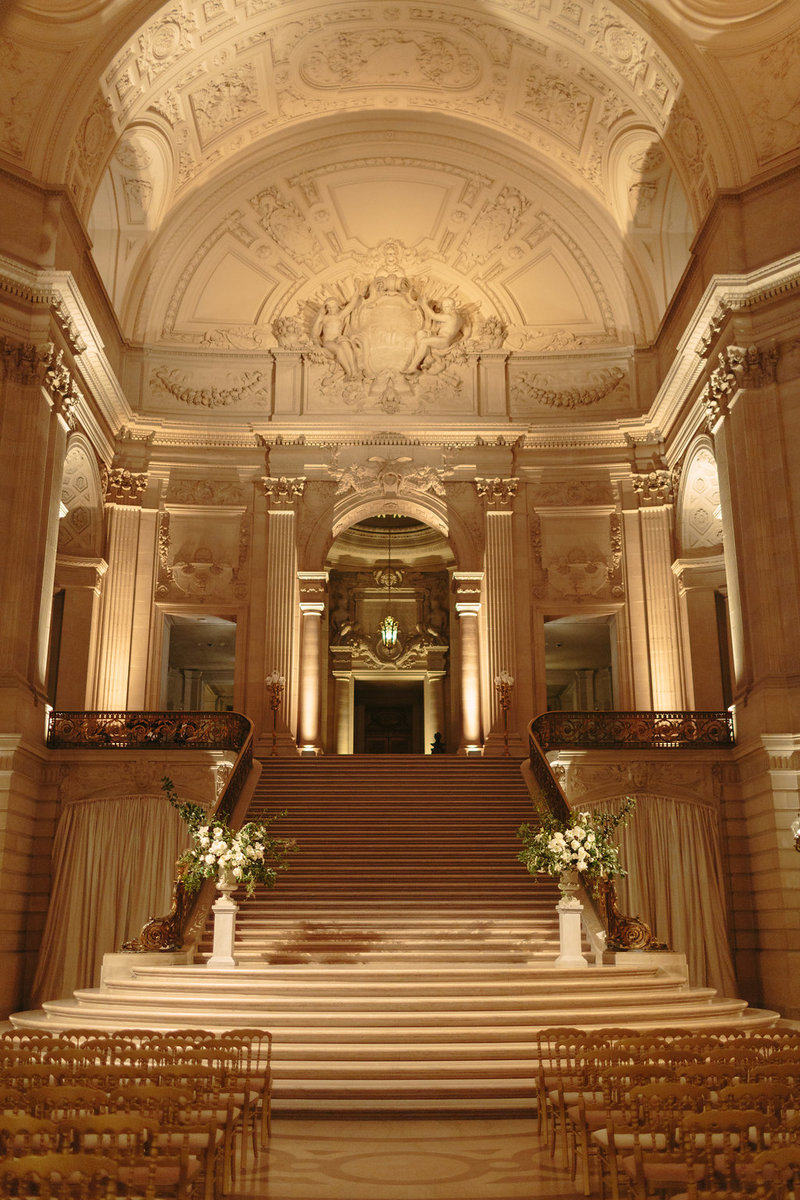 Wedding by Jenny Schneider Events at the San Francisco City Hall. Photo by Larissa Cleveland Photography.