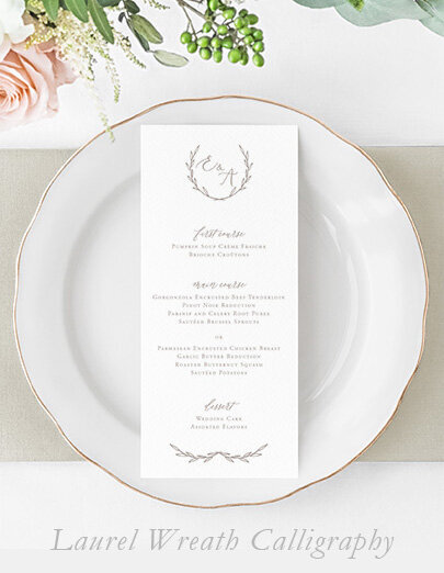 laurel-wreath-calligraphy-wedding-menu