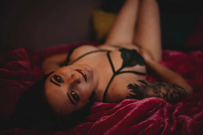 Tattooed Woman Boudoir Session