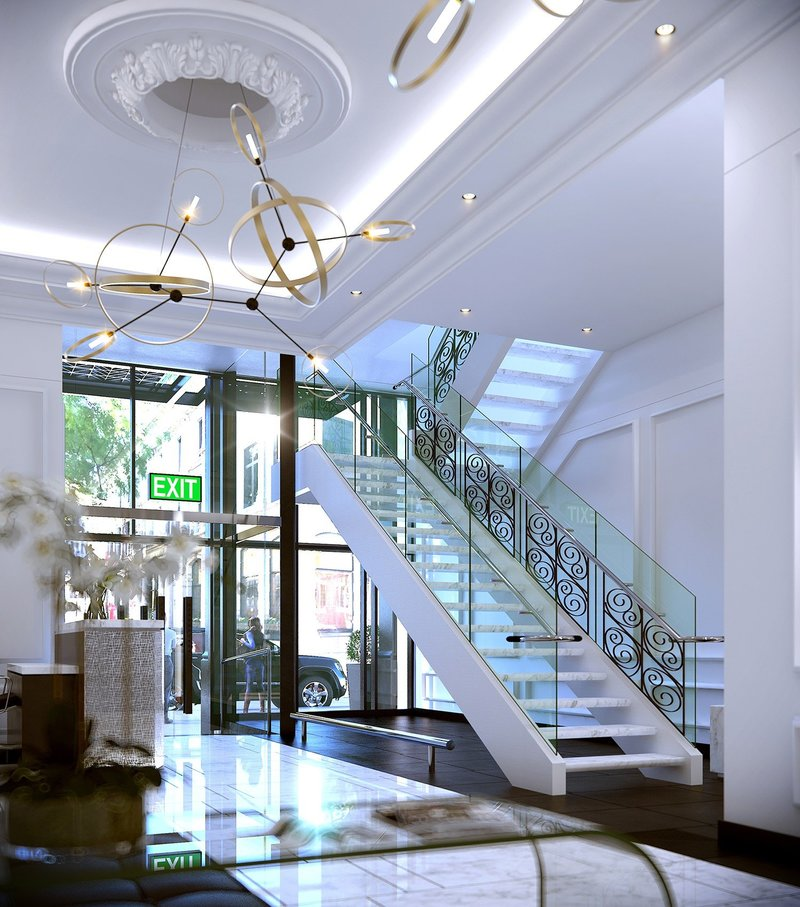 (03) Luxury lobby with grand staircase and large windows