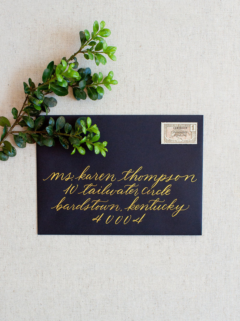 Hand-Scripted Calligraphy Guest Addressing - Gold Ink
