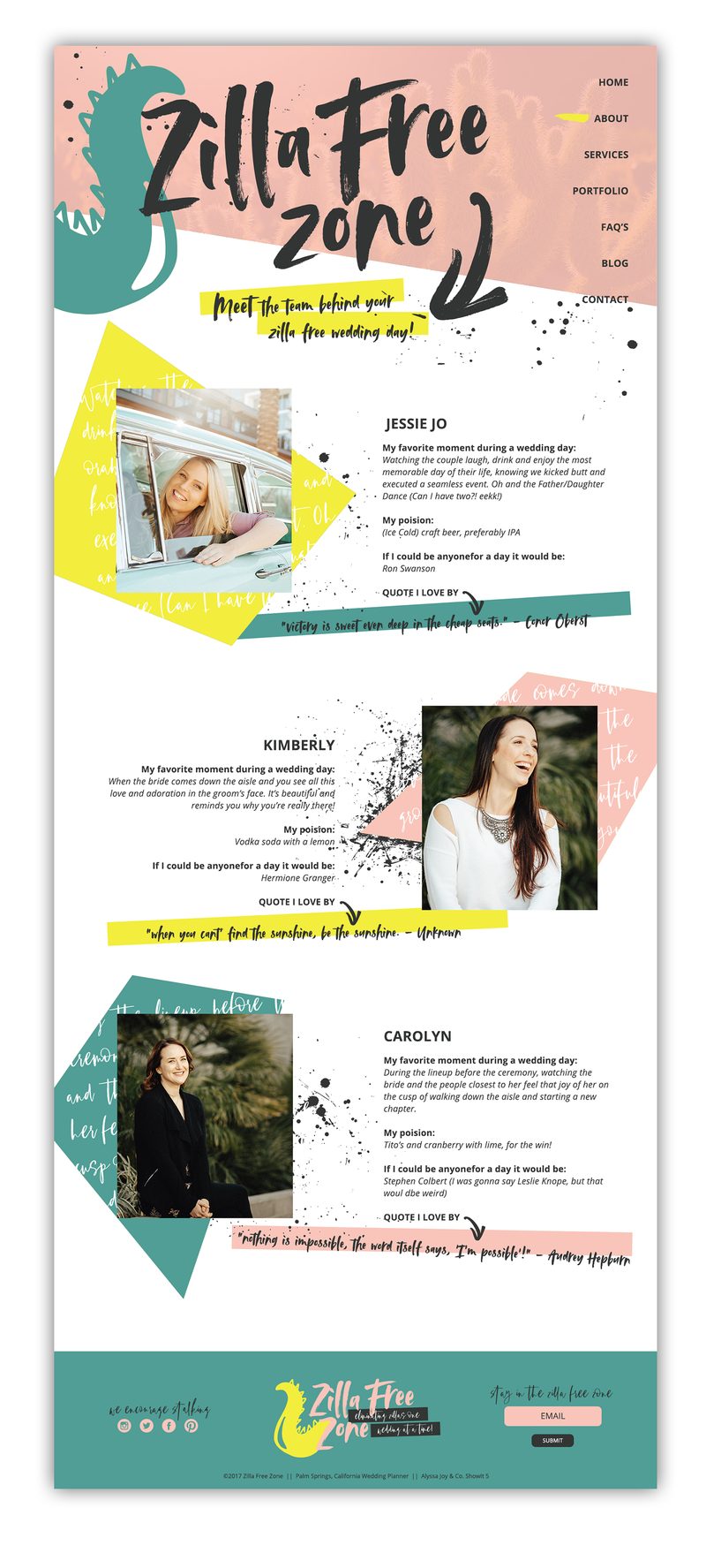Alyssa Joy & Co. Brand & Web Designer for Creatives & Small Businesses || Zilla Free Zone, Wedding Planner Showit5 Website