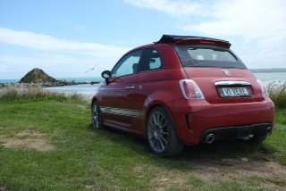 Fiat 500 convertible, red named Vivere, Southland, New Zealand