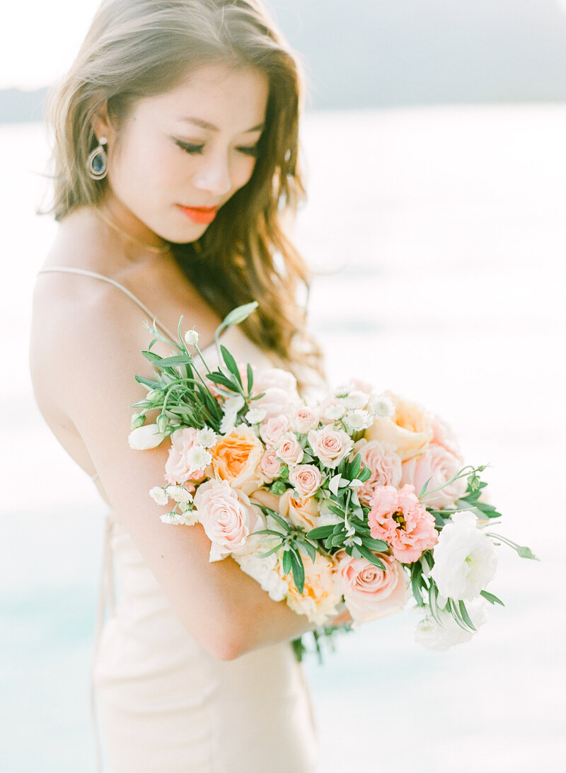 The flowers of the bride, close portrait
