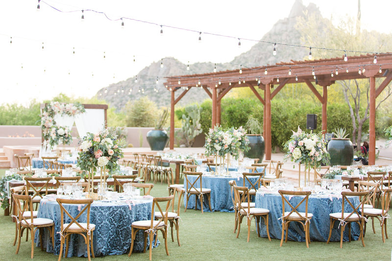 Navy and Blush Four Seasons Reception Details Scottsdale, Arizona | Amy & Jordan Photography