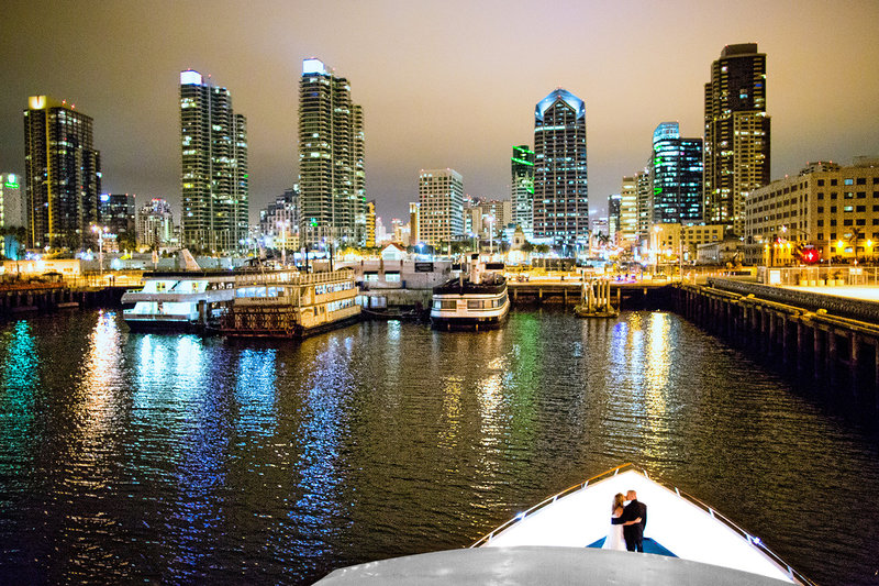 Hornblower Cruises wedding photos night shot san diego skyline