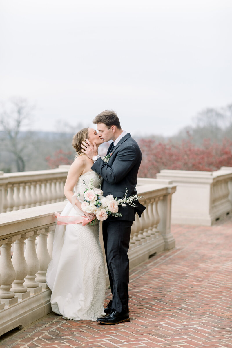 Virginia Wedding Photographer, groom kissing his bride