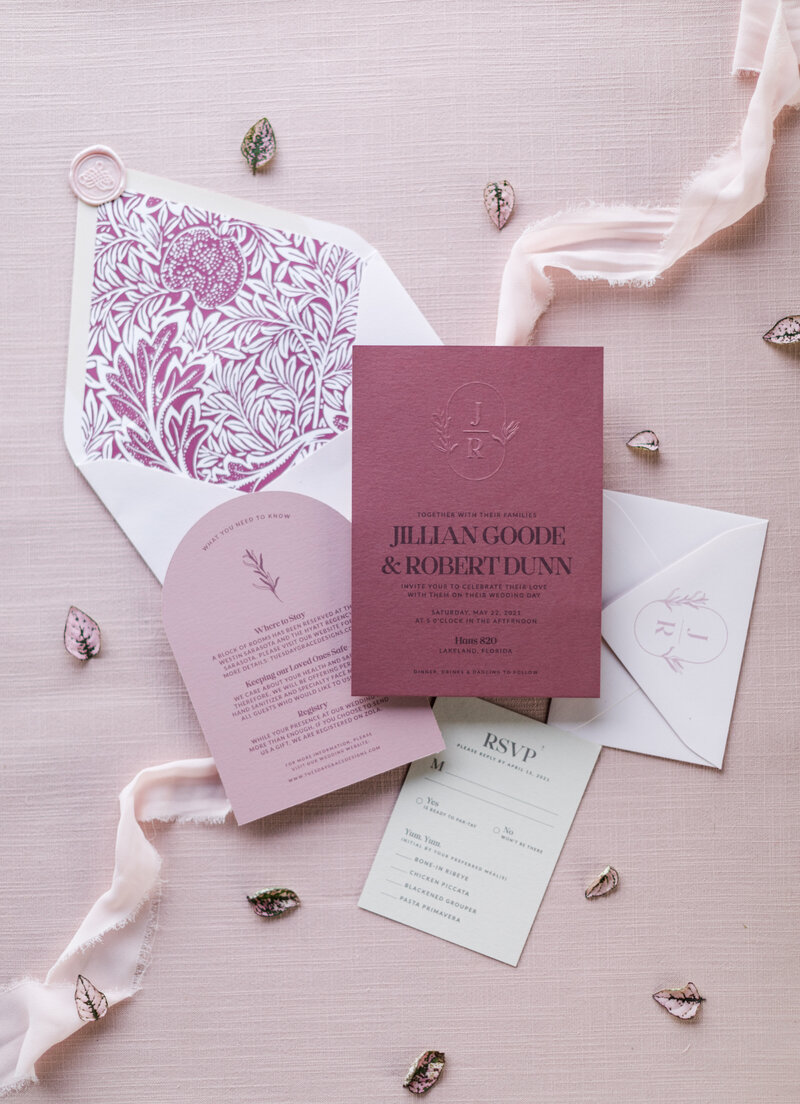 Shades of pink wedding invitation suite. Photo Credit: Kelsey Teasedale Photography.