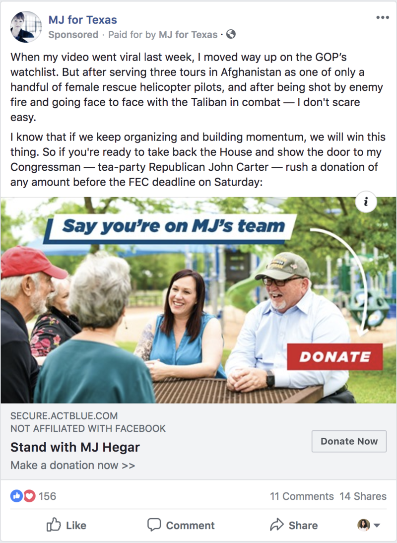 MJ Heger Texas congressional candidate Facebook ad
