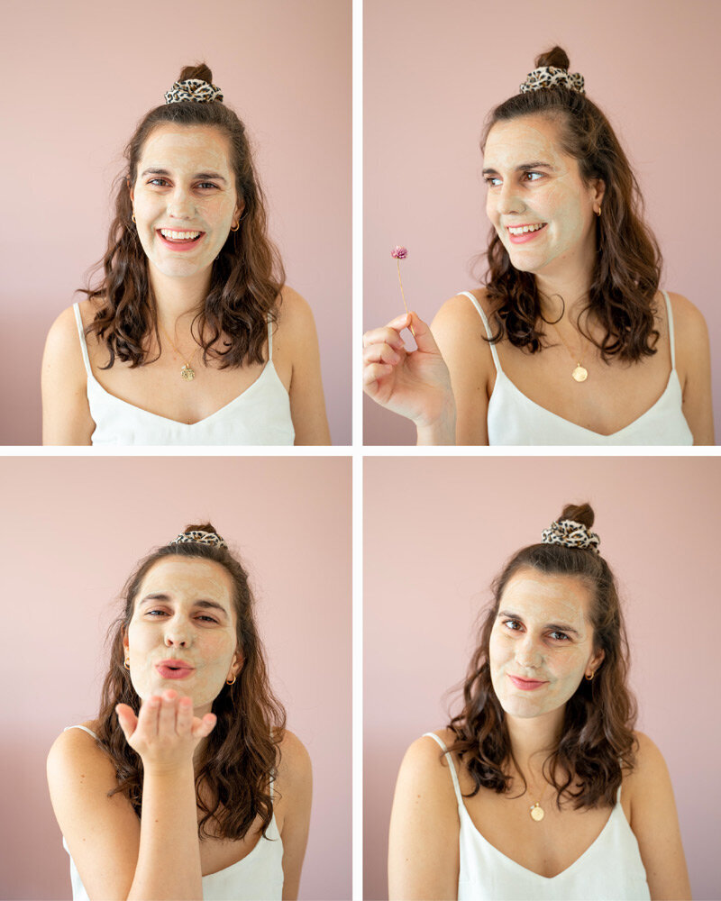 Meet the Founder of Oh Cocoon Laura Abate wearing a facemask as the queen of self-care.