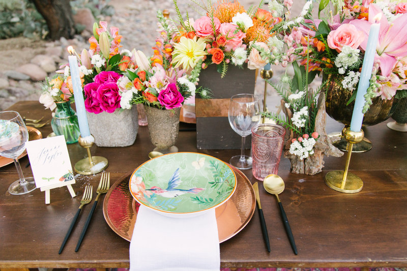 Table settings at Palm Springs Desert Elopement