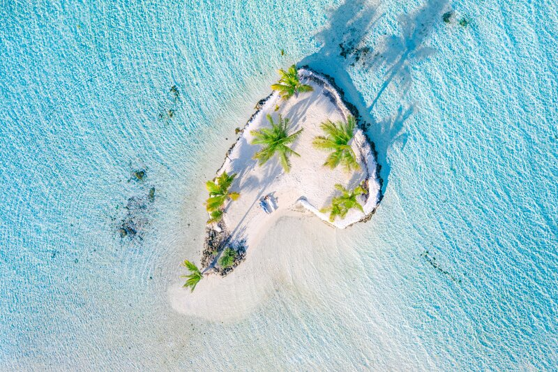 Aerial drone view with the bride and the groom in French Polynesia (pacific island)