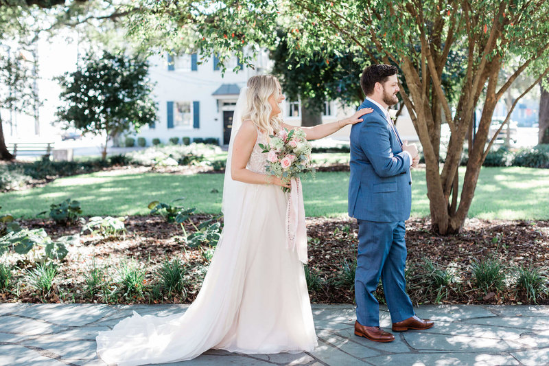Carly and Clint's Downtown Savannah Elopement in Reynolds Square