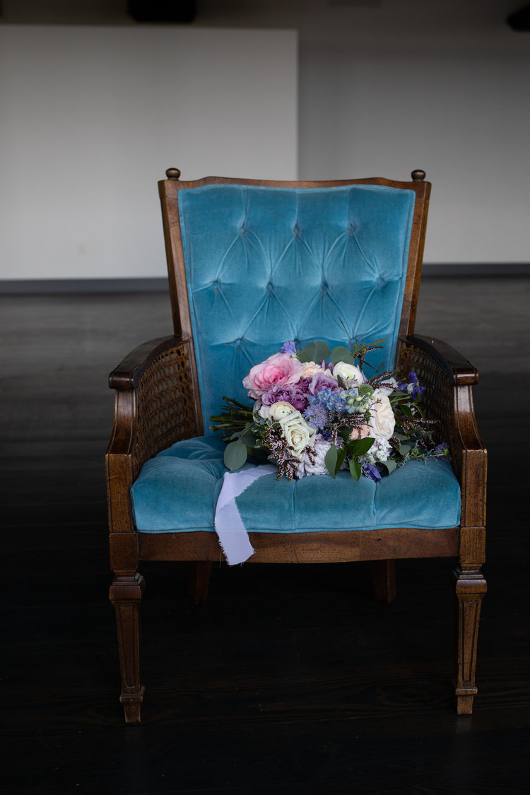 Cane Barrel Chair Blue Velvet Fabric Tufted Back