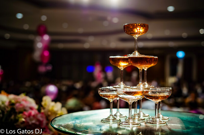 LOS GATOS DJ - Table Spotlights Dessert Table Champagne Event Wedding Lighting