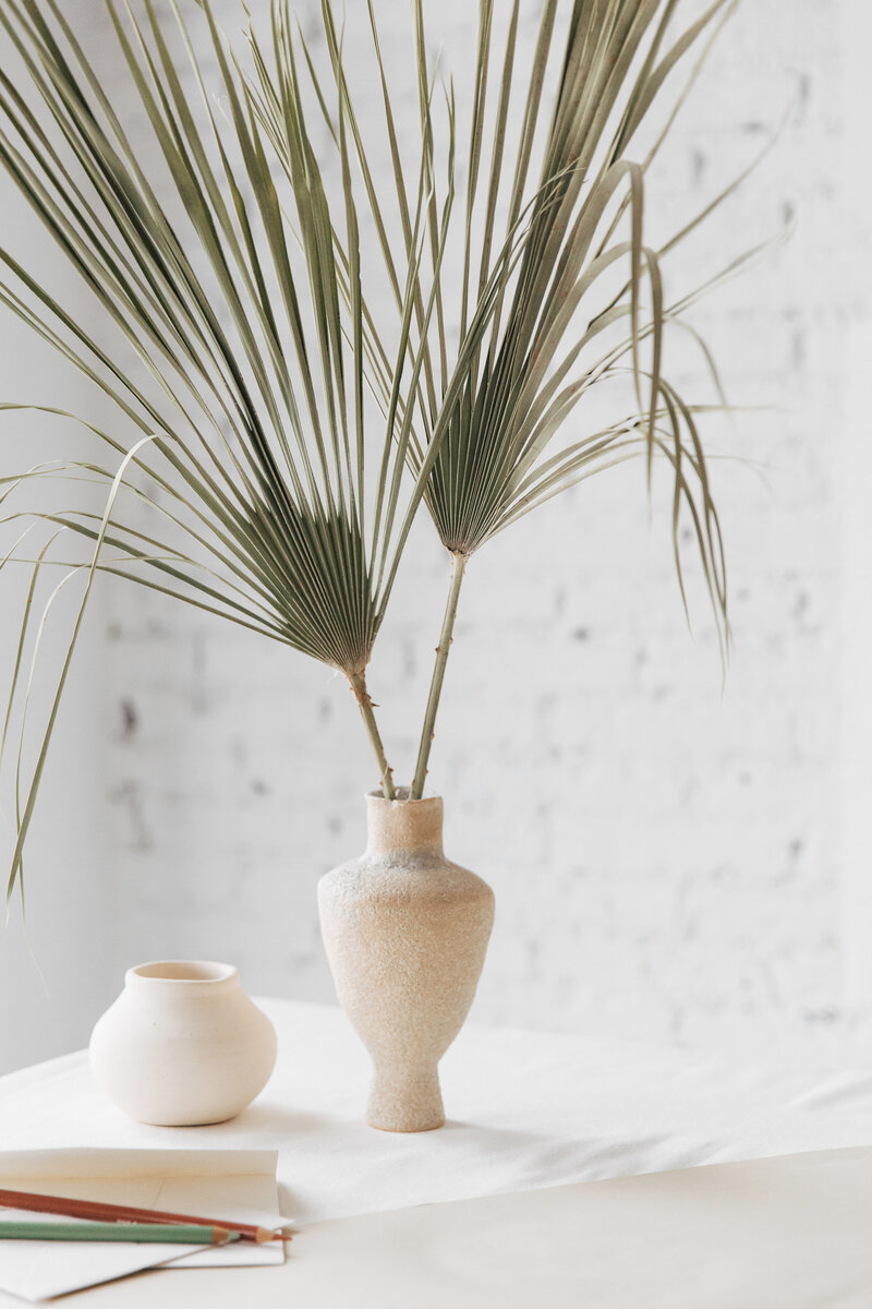 palms in ceramic vase