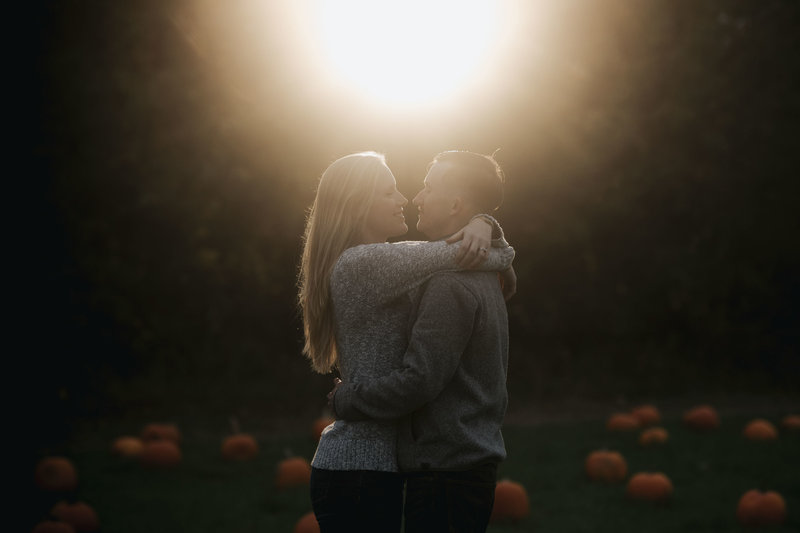Cozy fall sunset engagement session in Mystic Connecticut