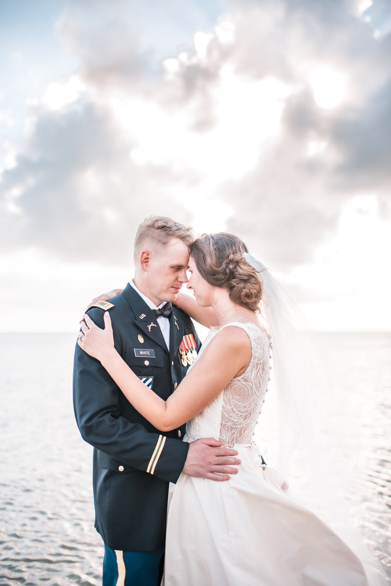 Wedding photo of couple on the water, Galveston