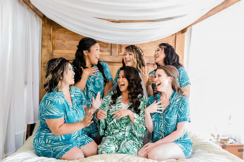 bridesmaids getting ready with bride at loulu palm in hawaii