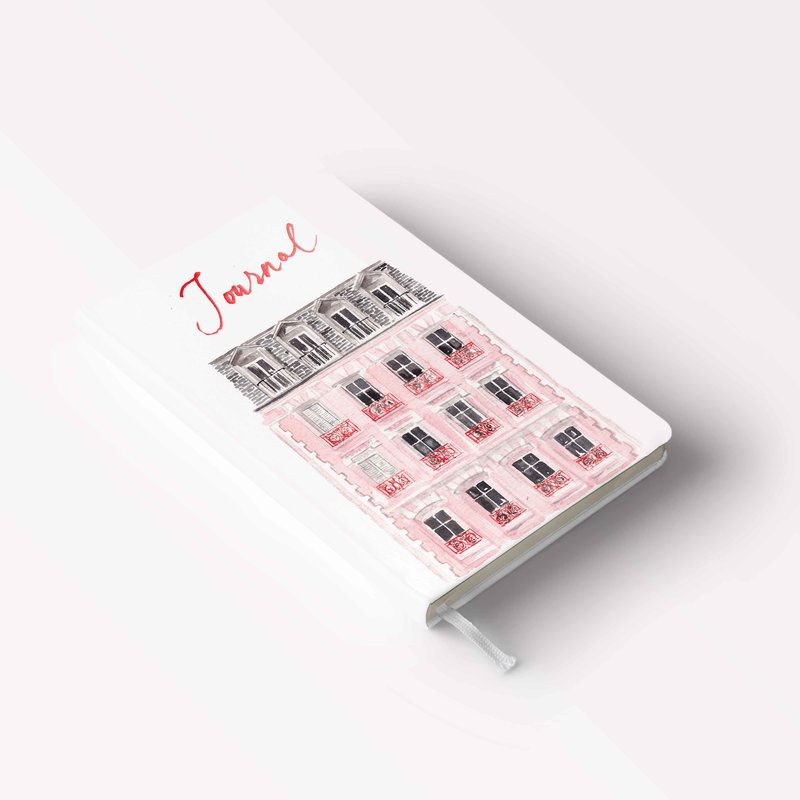 pink paris house hardcover journal