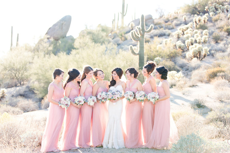 Blush Four Seasons Desert Bridesmaids | Amy & Jordan Photography
