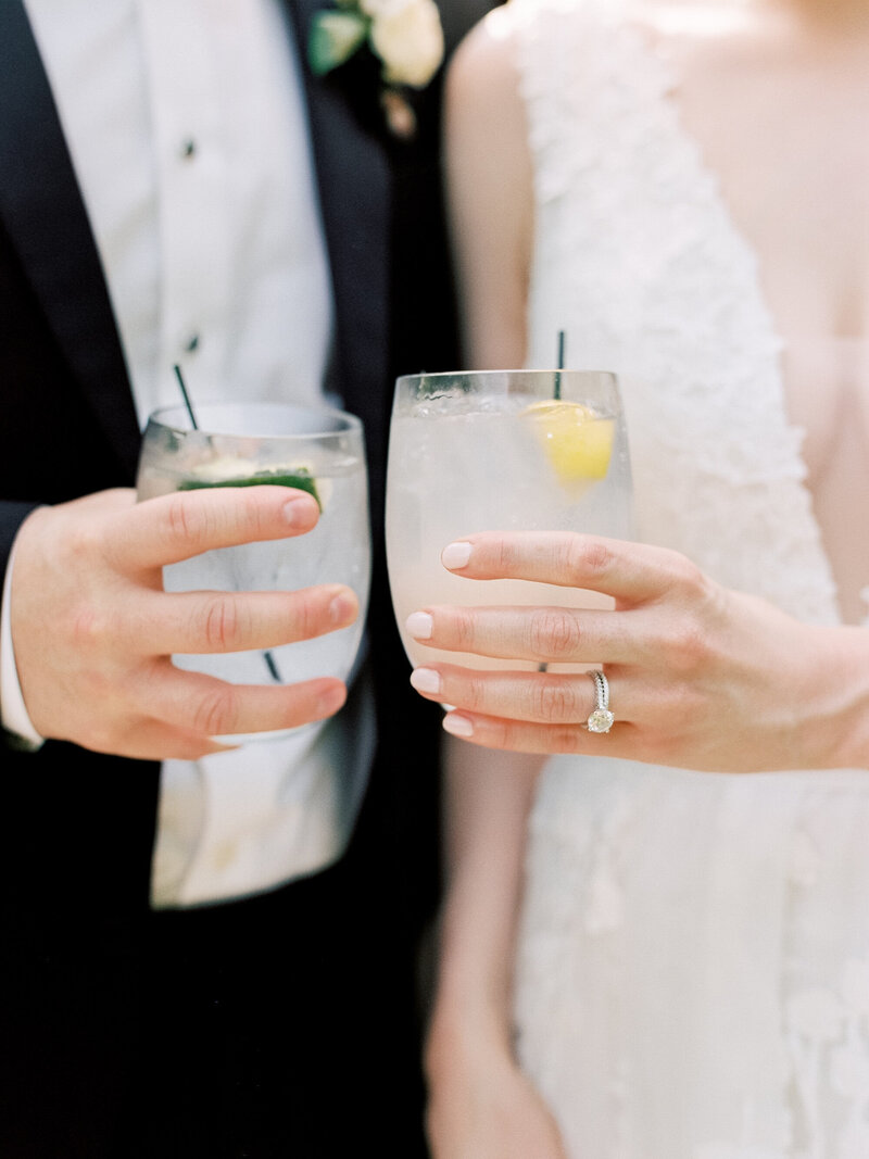 Bride and Groom with Signature Drinks