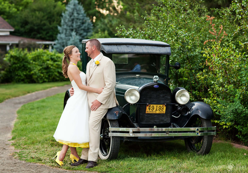 Wedding photography with vintage ford truck at Chatfield Farms Denver Botanic Gardens