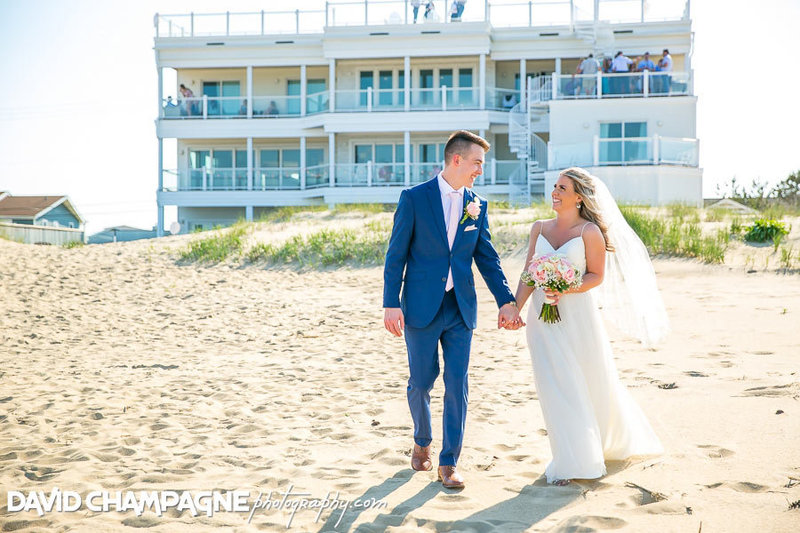 Bride & Groom at their Sandbridge beach wedding , VA