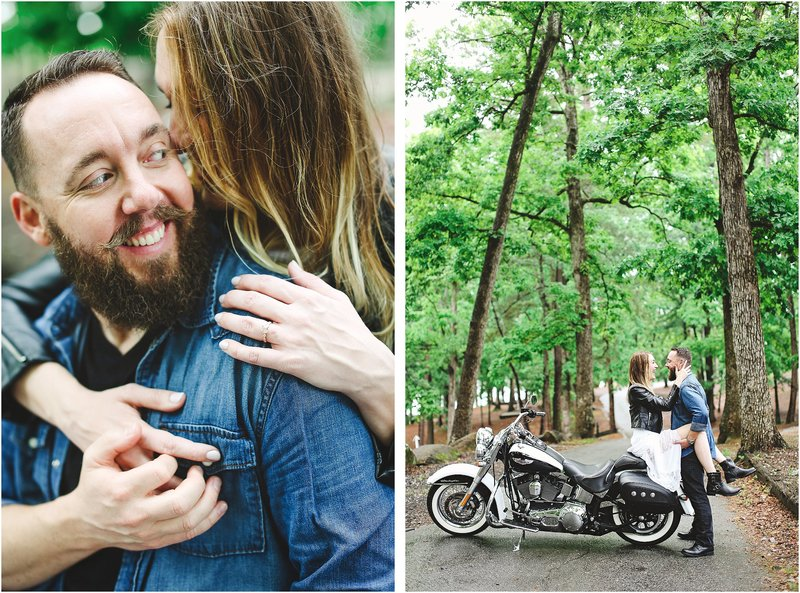 camp inspired engagement session with motorcycle
