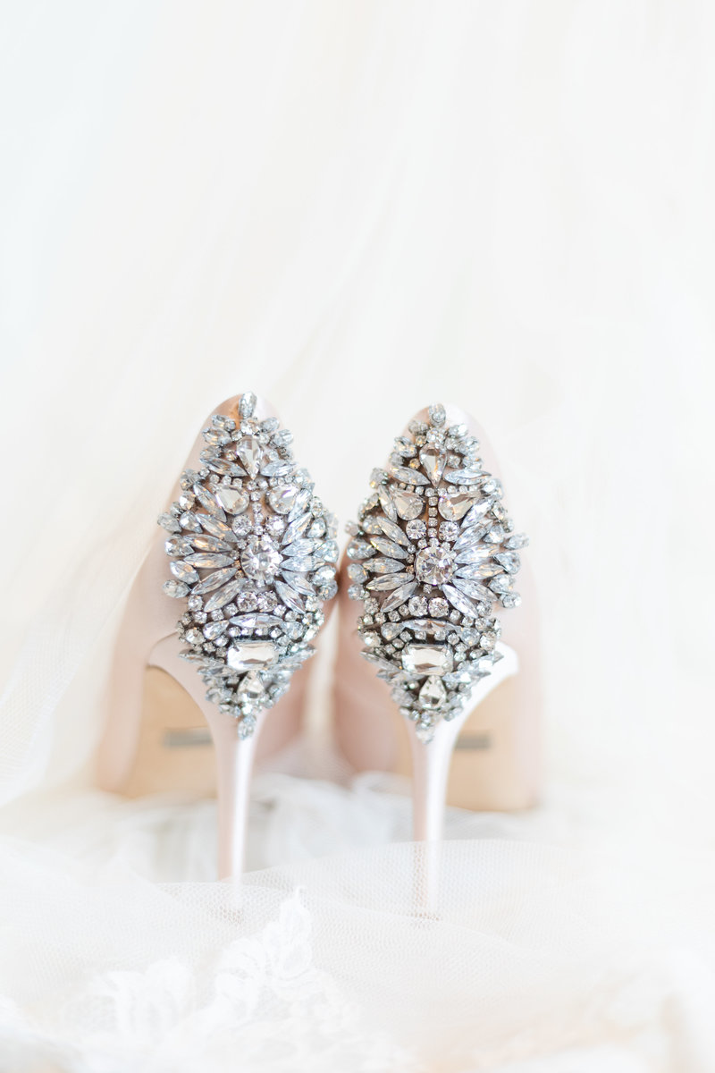 Close up of diamonds on blush heels