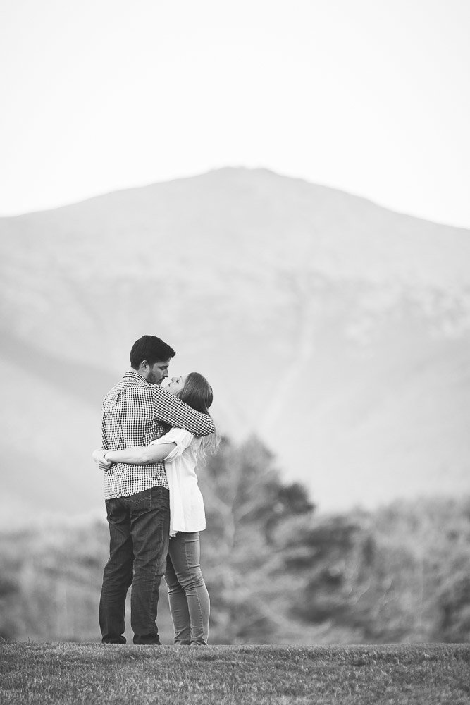 Black and White  engagement photo taken by K. Lenox Photography at the Omni Mount Washington Resort. Taken by K. Lenox Photography