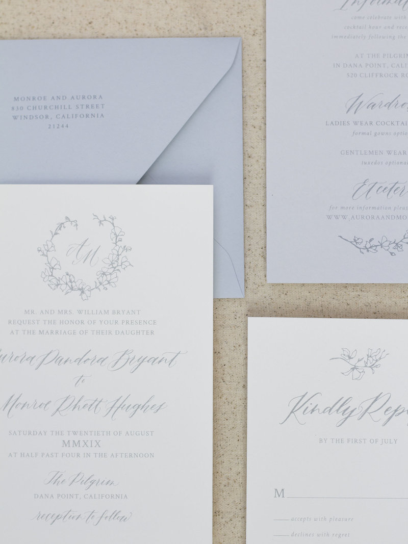 Romantic Chateau Semi-Custom Invitations Magnolias Set