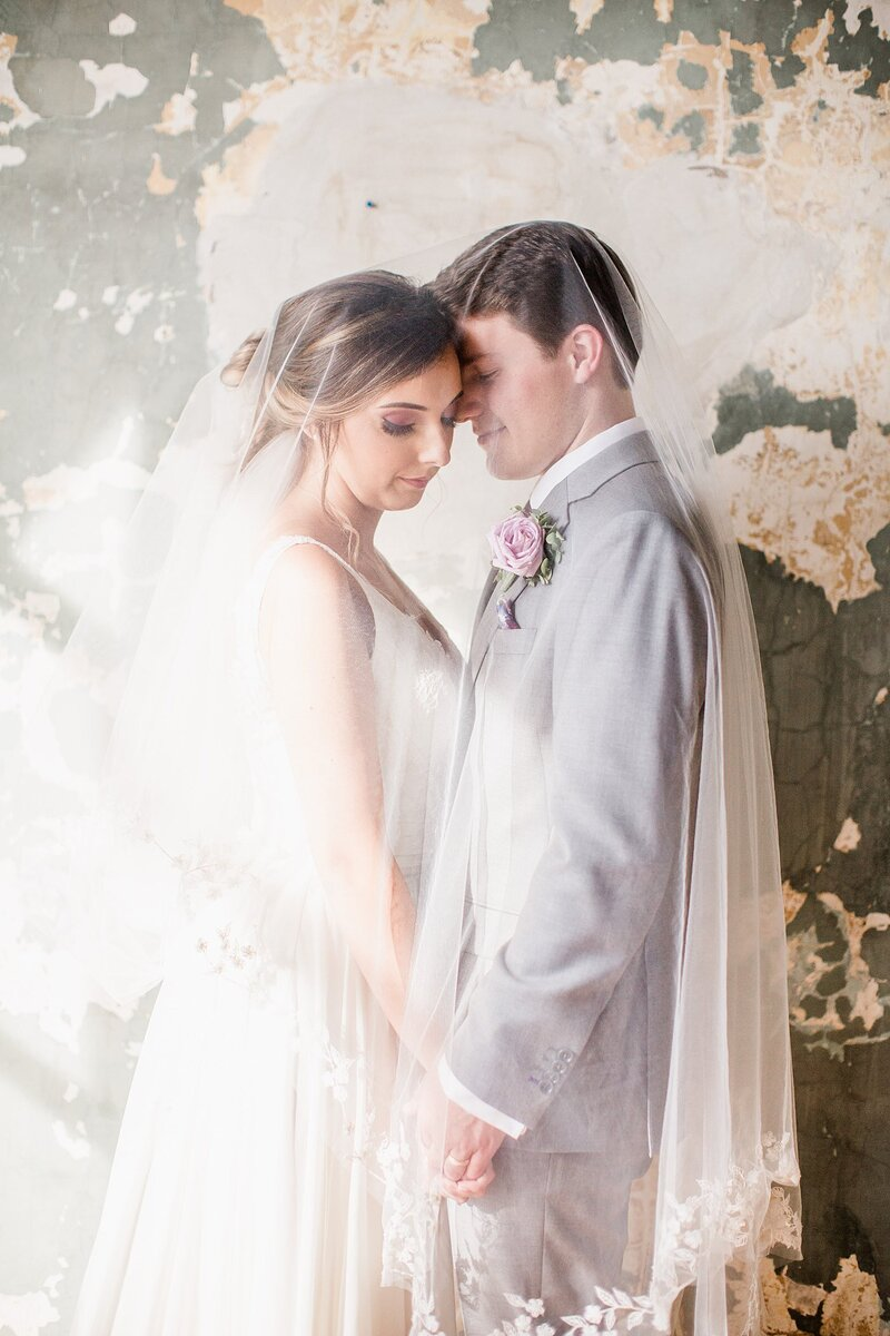 Couple standing under bride's veil by Knoxville Wedding Photographer Amanda May Photos