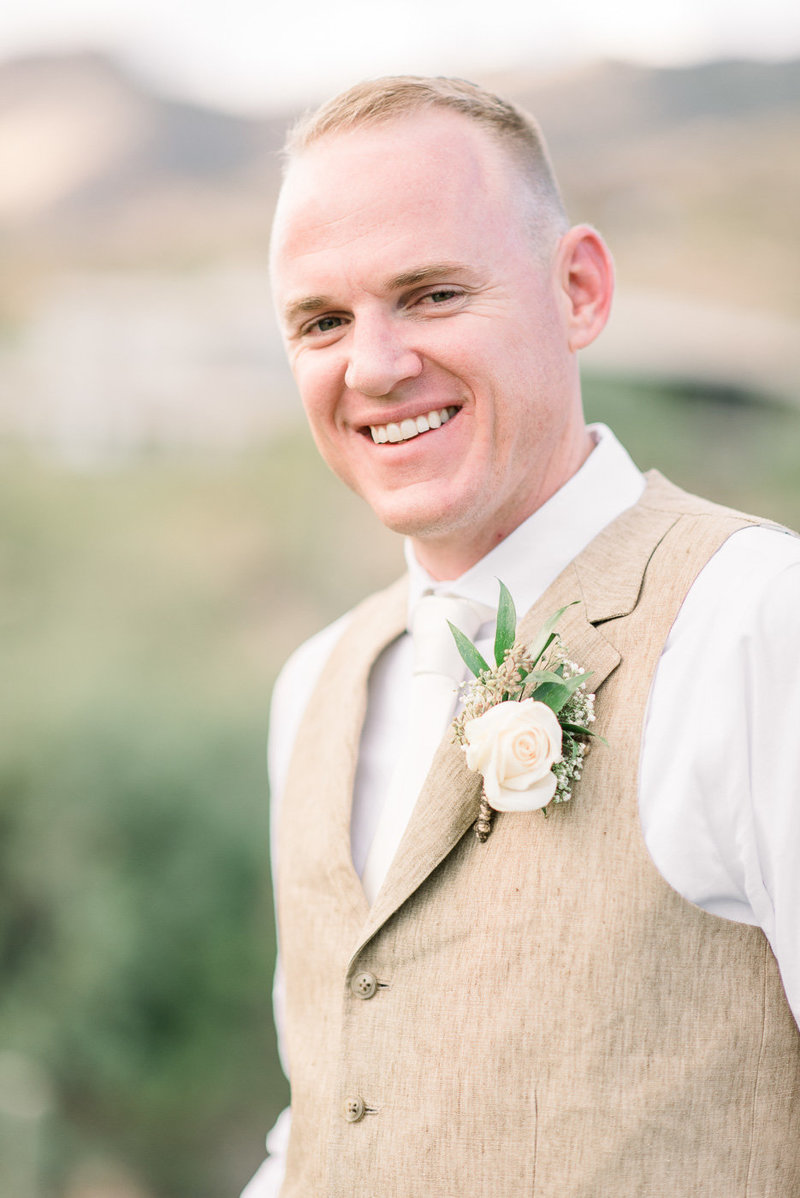 Lodge at Ventana Canyon Wedding Photo of Groom by Tucson Wedding Photographer Bryan and Anh of West End Photography