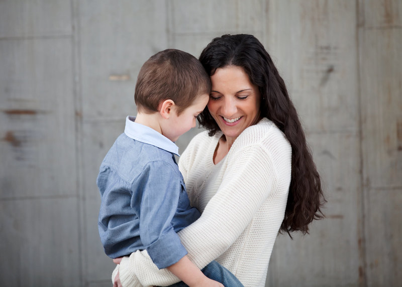 mom and son embrace during a studio session in New Haven  CT
