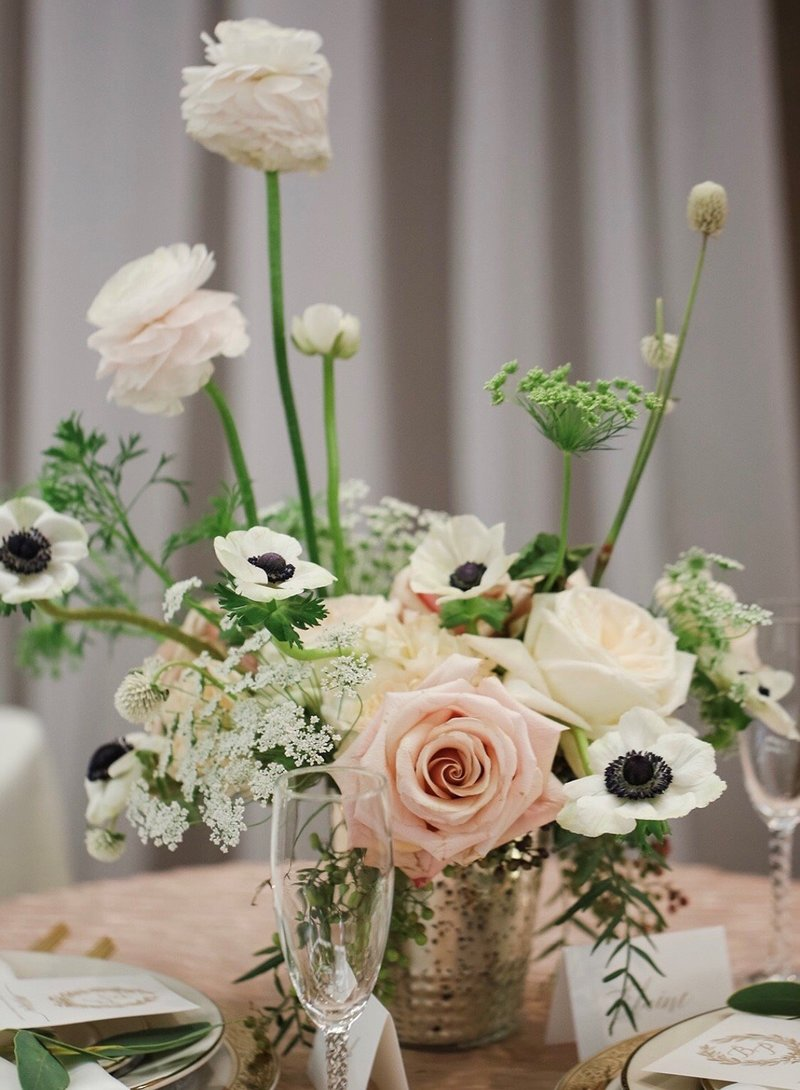 Beautiful floral centerpiece created by Deeply Seeded, Indianapolis, Indiana