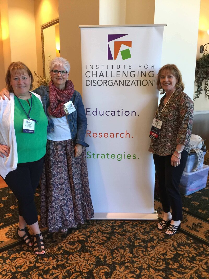 Tammy O'Neil and friends pose at the Institute for Challenging Disorganization conference