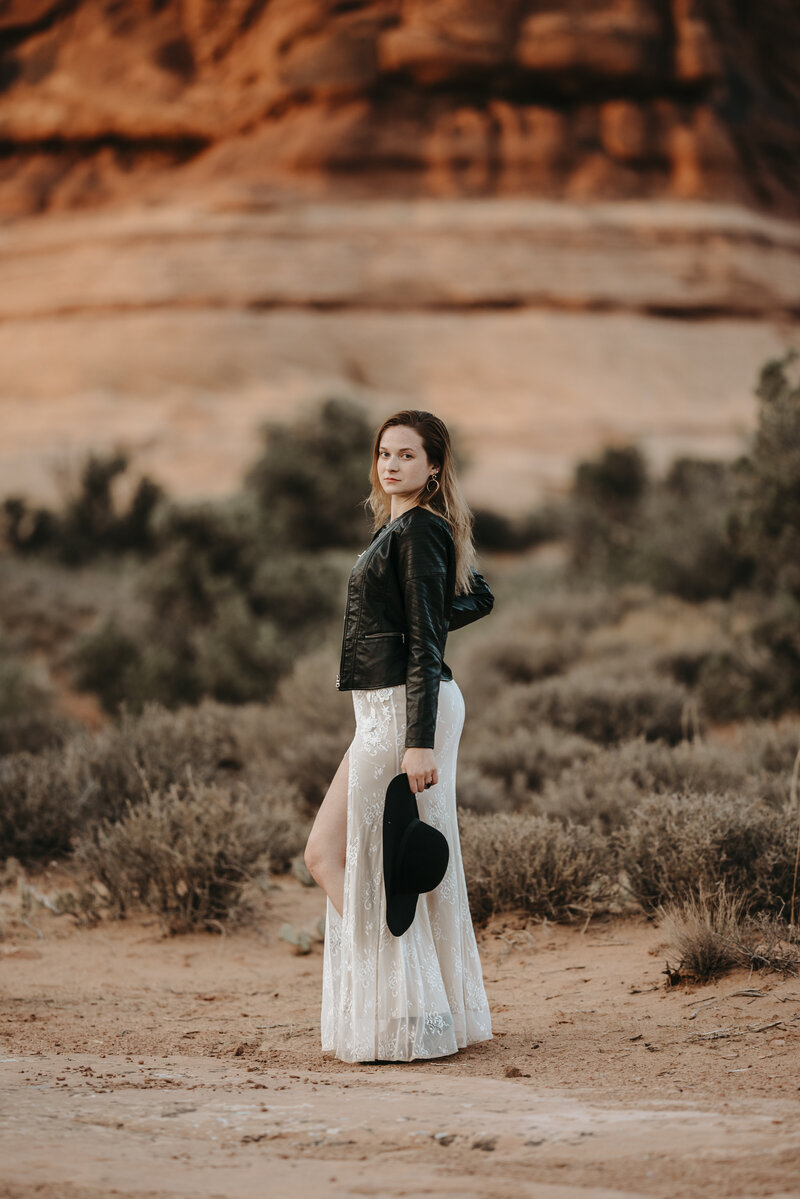 Edgy Boho Desert Utah Arches National Park Bridal Session 060
