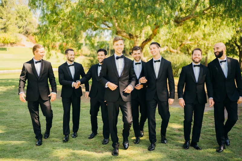 groomsmen photo poses at quail ranch wedding in simi valley